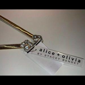 Alice Olivia gold elastic belt w/ diamond stones